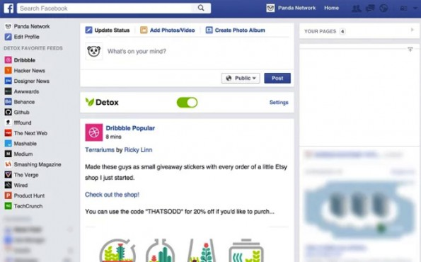Detox ersetzt euren Facebook-Newsfeed durch eine Quelle eurer Wahl. (Screenshot: Detox)