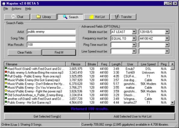 Mit Napster wurde wie wild illegale Musik gezogen. (Screenshot: regmedia.co.uk)