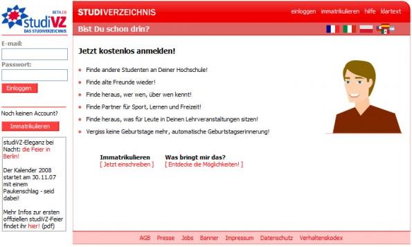 Nach UBoot.com kam für die Deutschen irgendwann StudiVZ. Auch das Netzwerk verschwand in der Versenkung. (Screenshot: blog.happyarts.de)