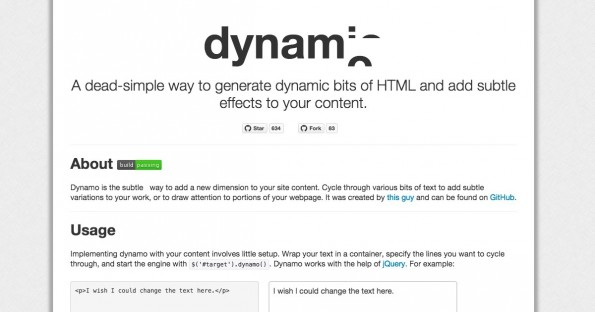 dynamo.js konzentriert sich auf das Auswechseln von Textteilen. (Screenshot: dynamo.js)