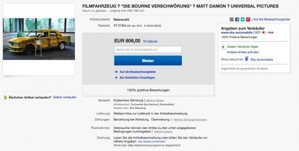 """Hier ist ein authentisches Stunt-Taxi aus dem Hollywood-Streifen """"Die Bourne Verschwörung"""" mit Matt Damon zur Versteigerung gelangt.(Screenshot: eBay)"""