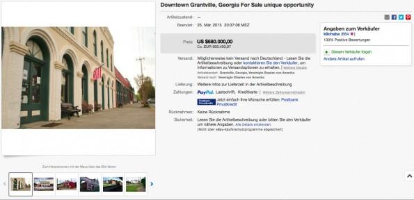 """Hier steht Downtown Grantville, Georgia zum Verkauf – die berühmte Stadt aus """"The Walking Dead"""". Es fehlen nur noch die Zombies. (Screenshot: eBay)"""