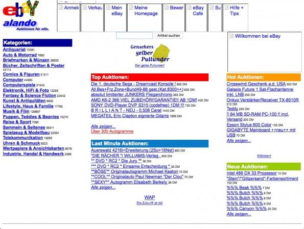 Der Auktionswahnsinn beginnt sehr früh: 1999, im Jahr der Gründung landet der berühmte gelbe Pullunder von Hans Dietrich Genscher auf Alando/eBay.de (Screenshot: Wayback Machine)
