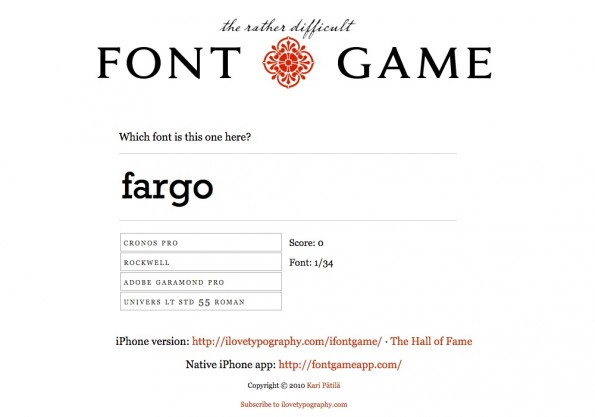 Games for Designers: The Font Game (Screenshot: The Font Game)