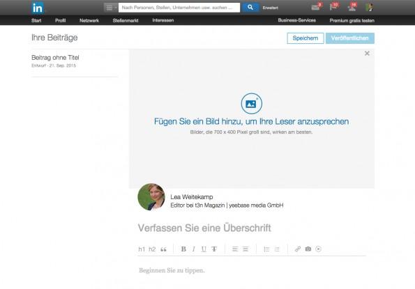 Endlich: Seit heute können auch deutschsprachige Nutzer die Blogging-Funktion von LinkedIn nutzen. (Screenshot: t3n)