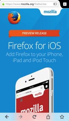 Firefox für iOS: Die erste Testversion des Browsers wurde veröffentlicht. (Screenshot: Mozilla)