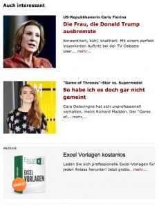 Die Empfehlungen von Plista auf Spiegel Online. Die Monetarisierung erfolgt durch bezahlte Anzeigen, hier zu sehen an dritter Stelle. (Screenshot: t3n.de/ Spiegel Online)
