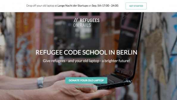 """Refugees on Rails"" will Flüchtlingen das Coden beibringen – mit Hilfe eurer gespendeter Laptops. (Screenshot: Refugees on Rails)"