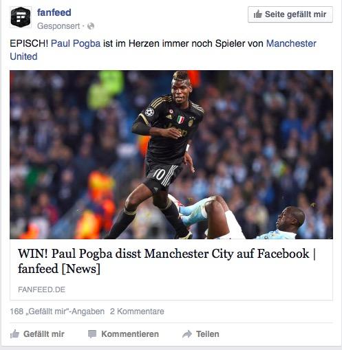 Der Algorithmus bei Facebook ist klar zu erkennen – zwei Sportseiten geliked und schon wird die nächste vorgeschlagen (Screenshot: Facebook)