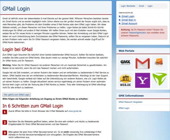 Schritt für Schritt erklärt login-seite.de, wie man sich zum Beispiel in das Postfach bei GMX einloggt. (Screenshot: login-seite.de)