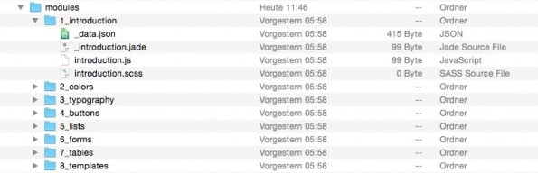 Ordnerhierarchie der Stylguides. (Screenshot: Mac)