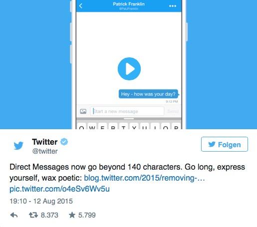 Twitter hebt die Zeichenbegrenzung auf (Screenshot: Twitter)