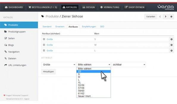 """Bei VersaCommerce findet ihrden 'Konfigurator'unter'Attribute', aber diese kannst du zum Beispiel in deinem Produktkatalog nutzen, um wichtige Daten deiner Produkte vergleichbar und übersichtlich darzustellen. Du kannst beliebige Attribute anlegen, auch mehrere. In diesem Beispiel wurde """"Größe"""" als Attribut-Name eingetragen. Im zweiten Feld wird die Attribut-Ausprägung eingetragen, hier eine Größenbezeichnung. Drei Größen wurden schon angelegt, die vierte ist gerade in Bearbeitung. Im Shop sieht dies so aus:"""