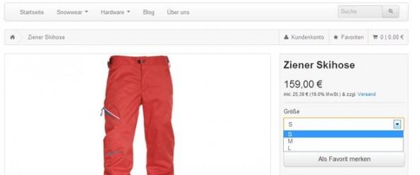 Die Kunden sehen den Attribut-Namen als Überschrift und daruter ein Dropdown-Menü mit den eingetragenen Attribut-Ausprägungen. Das vom Kunden gewählte Attribut wird bei der Bestellung vermerkt. (Screenshot: versacommerce.de)