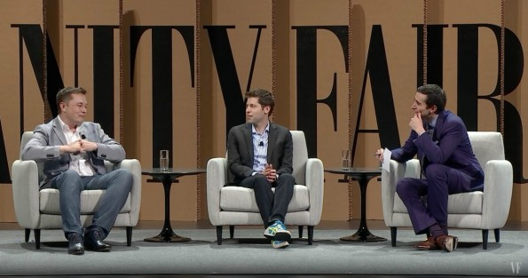 Elon Musk (links) beim Vanity Fair New Establishment Summit. (Screenshot: YouTube, Vanity Fair/t3n)