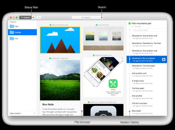 Versionskontrolle für Designer: So sieht Folio für Mac aus. (Screenshot: Folio)