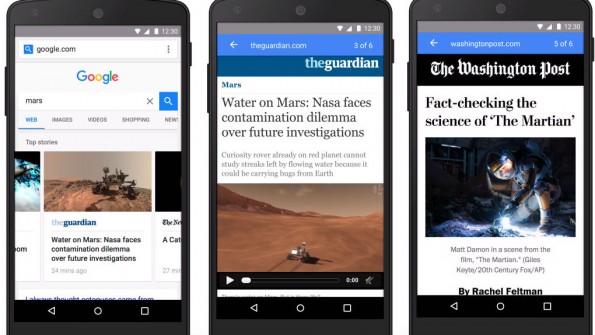 """Die """"Accelerated Mobile Pages"""" sind in den Suchergebnissen als Vorschau sichtbar. (Bild: Google)"""