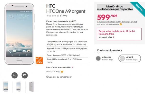Ein weiterer Shop hatte das One A9 schon mit Preis gelistet. (Screenshot: Shosh.fr)
