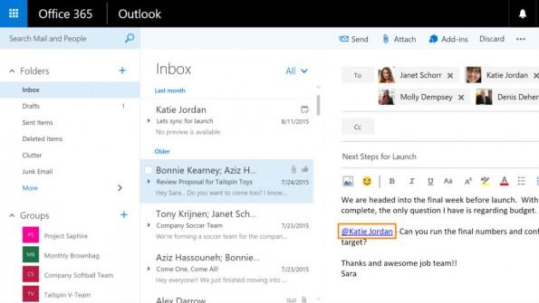 Über Mentions können User in einen Outlook-Email-Verkehr hinzugefügt werden. (Bild: Microsoft)