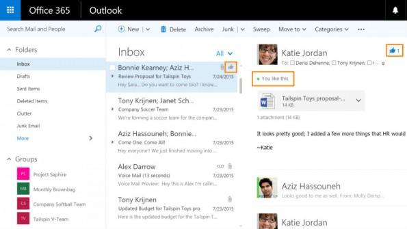 Die Outlook-Likes stehen für Zustimmung für die Vorschläge von Kollegen. (Bild: Microsoft)