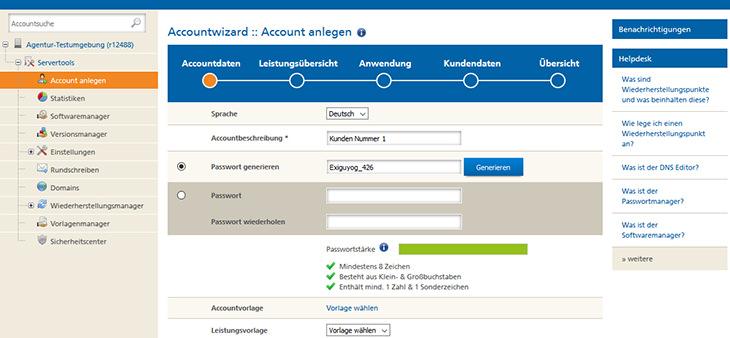 Das Anlegen eines neuen Kunden-Accounts geht ziemlich schnell von der Hand. (Screenshot: Mittwald)