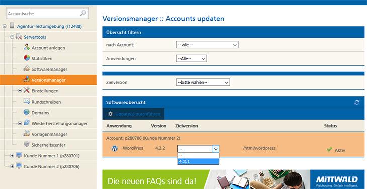 Praktiksch: Alle veralteten Software-Versionen auf einen Blick mit der Möglichkeit des Updates. (Screenshot: Mittwald)