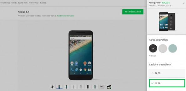 Das Nexus 5X ist ab sofort verfügbar. (Screenshot: Google)