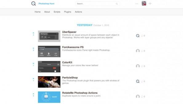 Die Startseite von Photoshop Hunt zeigt die eingereichten Plugins, Aktionen und Scripte in chronologischer Reihenfolge. (Screenshot: Photoshop Hunt)