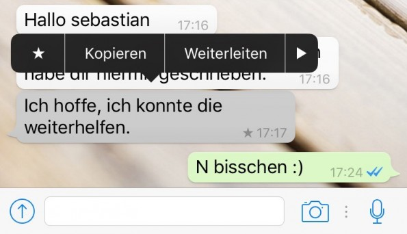 Auf iPhones könnt ihr WhatsApp-Nachrichten jetzt zum schnellen Wiederfinden mit einem Sternchen versehen (Screenshot: Giga.de)