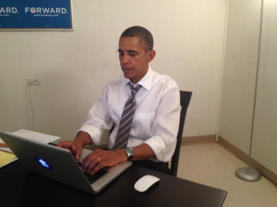 "US-Präsident Barack Obama bei seinem ""Aks Me Anything"" im Jahr 2012."