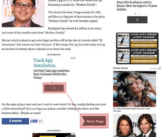 Der Button der Google Adsense-Anzeige und der Button zum Weiterklicken innerhalb der Liste sehen sich auffällig ähnlich.