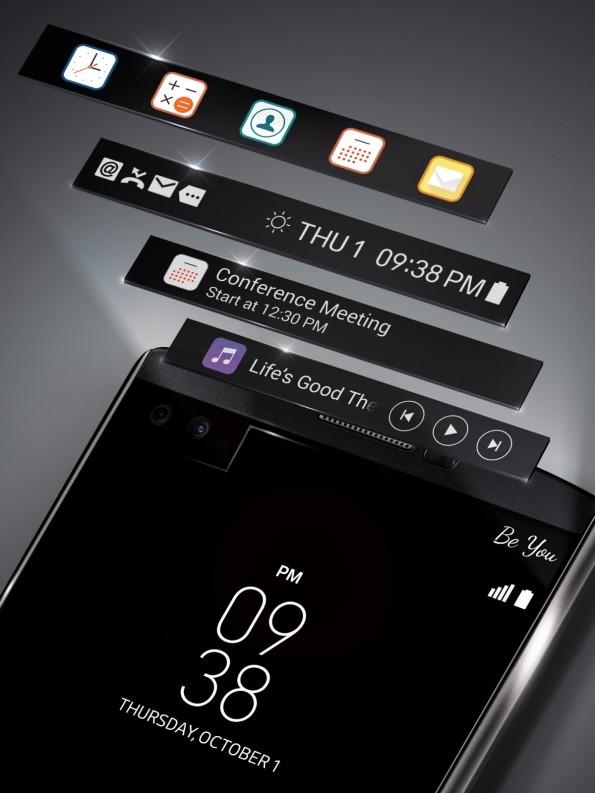 LG V10 besitzt ein Zusatzdisplay. (Bild: LG