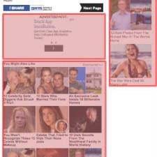 Eine komplette Artikelseite auf myfirstclasslife.com – viel vermarktete Flächen und vergleichsweise wenig Content (Klicken für größere Ansicht).