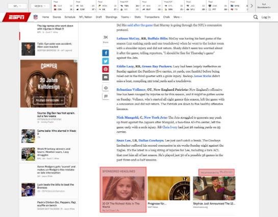 Ein Artikel auf espn.com. Unten drei Content Recommendations von Outbrain.