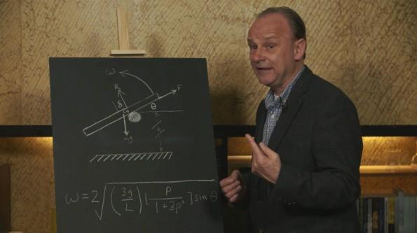 Robert Matthews erklärt, warum Smartphones mit dem Display nach unten zu Boden fallen. (Screenshot: WS UK/Vimeo)