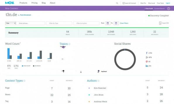 Content Marketing: Moz Content soll euch bei eurer Content-Strategie helfen. (Screenshot: Moz Content)