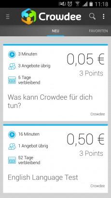 Mit Crowdee etwas Geld nebenbei verdienen. (Screenshot: t3n)