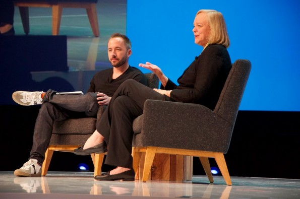 HP-CEO Meg Whitman mit Dropbox-CEO Drew Houston. (Foto: t3n)
