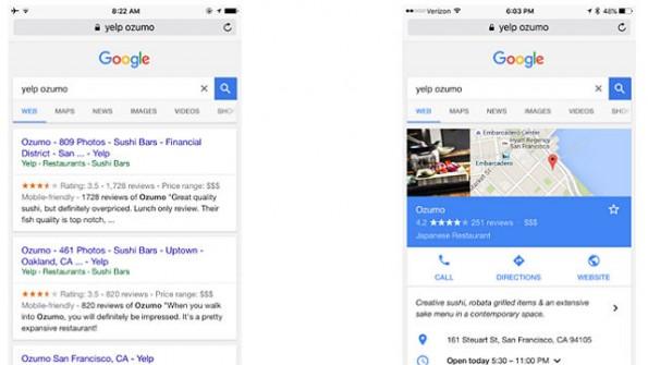 Während früher eine Suche nach Yelp-Informationen auch zu dessen Website führte, zeigt Google jetzt seine Infobox an. (Screenshot: Yelp)