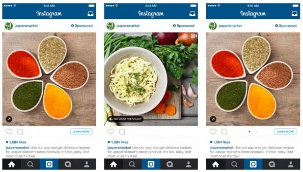 Werben auf Instagram: Als Anzeigenformate stehen euch Bilder, Bilderkarussell und Video zur Verfügung. (Grafik: Instagram)