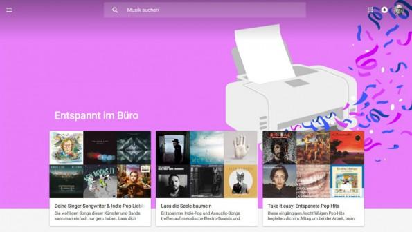 Google Music könnte die perfekte Lösung für deine Musik am Arbeitsplatz sein. Der Radiodienst stellt Songs entsprechend der Alltagssituation und Stimmungslage bereit. (Screenshot: Google)
