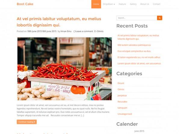 Schlicht und Orange kommt Bootcake daher. (Screenshot: WordPress.org)