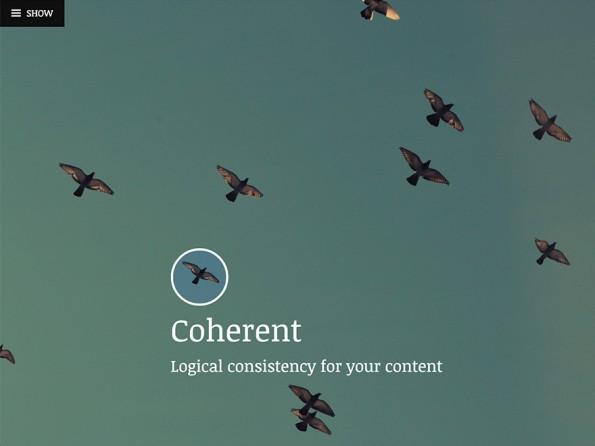 Coherent fällt mit dem Kontrast zwischen Viewportfüllendem Header-Bild und schlichtem Inhaltsbereich auf. (Screenshot: WordPress.org)