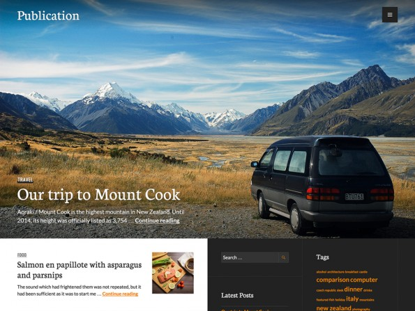 Publication bringt eine prominente Sidebar mit zwei Spalten mit. (Screenshot: WordPress.org)