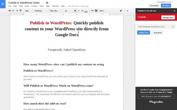 Mit dieser Erweiteurng könnt ihr Texte direkt von Google Docs aus auf eurem WordPress-Blog veröffentlichen. (Screenshot: Plugmatter)