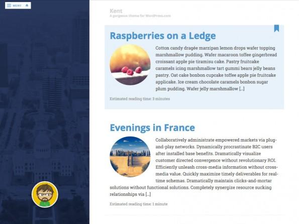 Kent bietet neben dem schlichten Inhaltsbereich auf der rechten Seite ein großes Bild auf der linken. (Screenshot: WordPress.org)