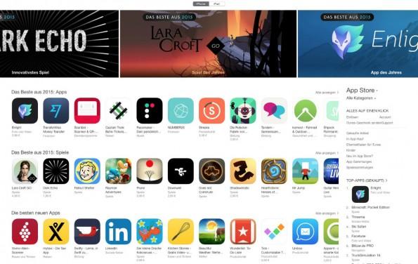 Die iPhone-Apps des Jahres 2015 im App Store von Apple. (Screenshot: iTunes/Apple)