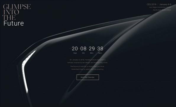 Faraday Future: Auf der CES 2016 soll ein Konzept enthüllt werden. (Screenshot: Faraday Future/t3n)