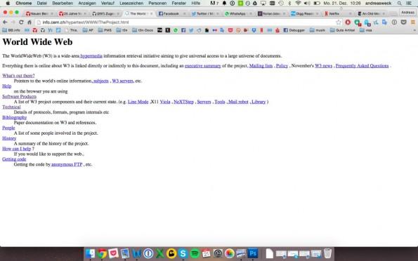 Info.Cern.ch: So sah die erste Webseite aus. (Screenshot: t3n.de)