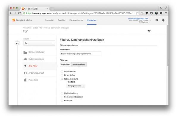 Mit diesem Filter verweigerst du dich der deutschen Groß- und Kleinschreibung. (Screenshot: t3n/ Google Analytics)